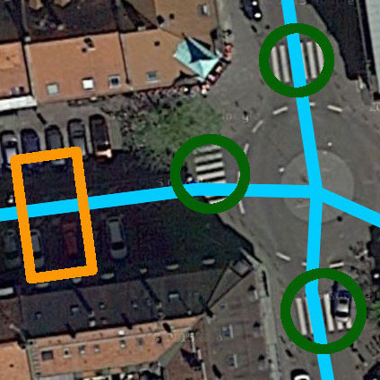 Aerial imagery of a roundabout with multiple zebra crossings as well as computer vision detections.