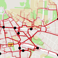 An exemplary city map, where the most accessible routes are highlighted in a red heatmap style.